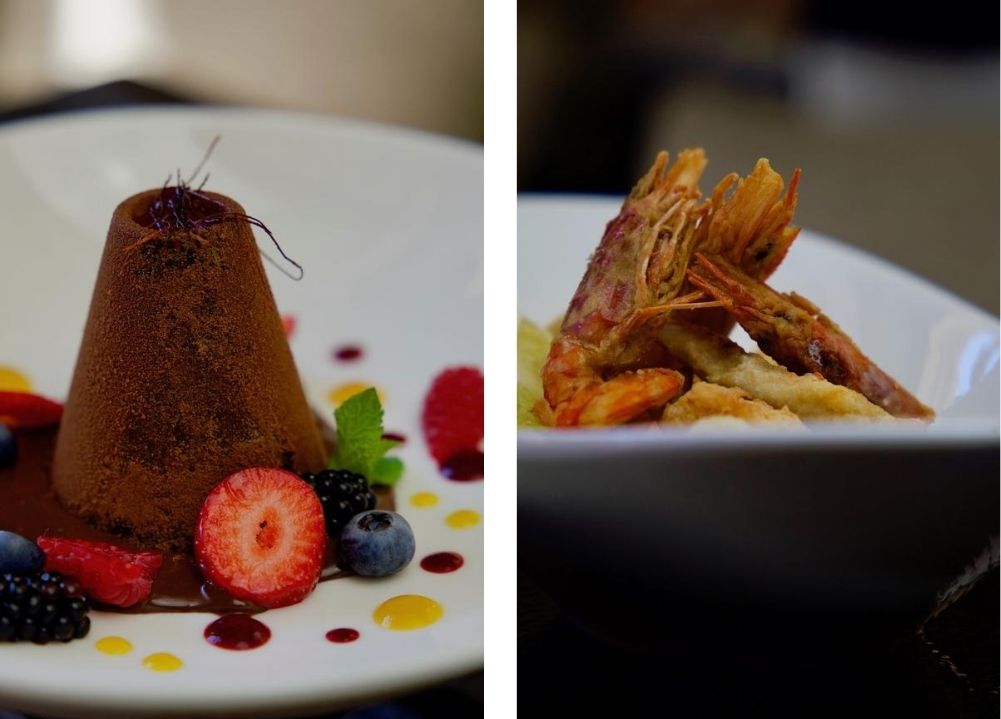 Collage photo with chocolate dessert and fried sea fish