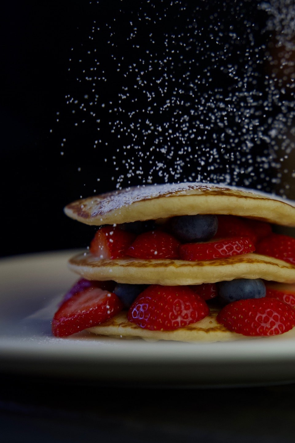 Pancake with strawberry and blueberry